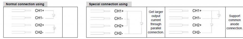 Допустимые схемы подключения к одному и тому же ИП от MOONS S-серии с 2 выходными каналами (с 4 каналами схема подключения аналогична).