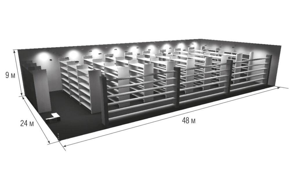 Базовый проект склада со стеллажами для сравнения светильников