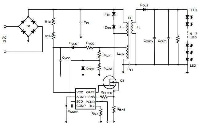 Рисунок 1. Пример схемы драйвера без фильтра