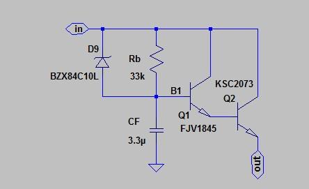 Рисунок 8. Схема фильтра с ограничителем максимального падения напряжения